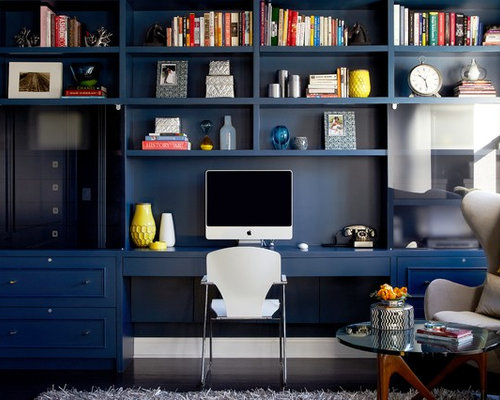Contemporary Dark Wood Floor Study Room Idea In New York With Blue Walls And A Built