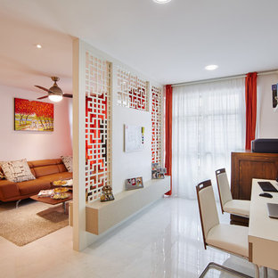 Inspiration for a mid-sized zen marble floor home office remodel in Singapore with pink walls