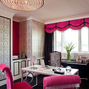 pink home office design idea.  Office Study Room  Large Contemporary Freestanding Desk Carpeted Study Idea  In Los Angeles With Multicolored Intended Pink Home Office Design