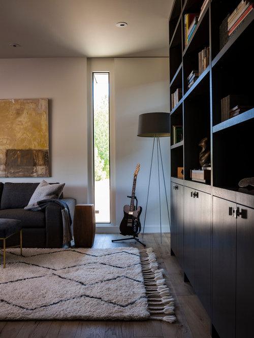 Example Of A Minimalist Light Wood Floor Home Office Design