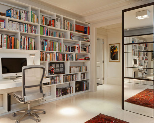 Inspiration For A Contemporary Built In Desk Beige Floor Study Room Remodel London With