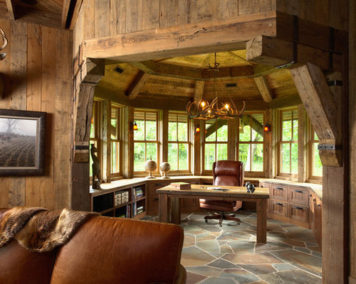 rustic office. Inspiration For A Rustic Freestanding Desk Home Office Remodel In Minneapolis S