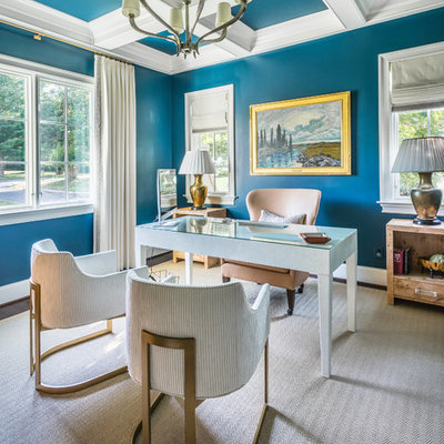Example of a classic freestanding desk study room design in Nashville with blue walls and no fireplace