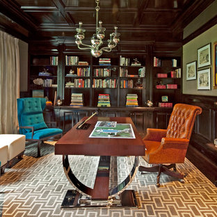 Inspiration for a transitional freestanding desk dark wood floor home office remodel in New York