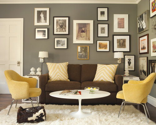 Amazing Transitional Home Office Photo In Los Angeles With Gray Walls