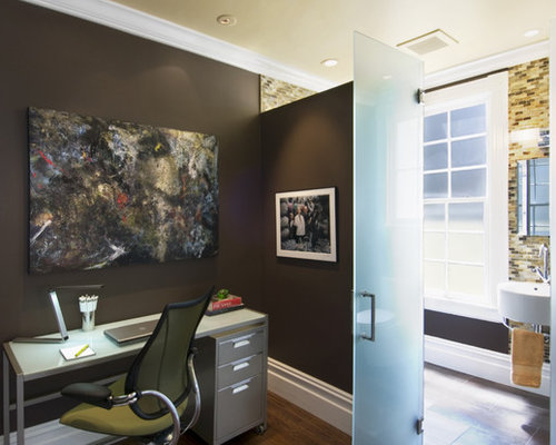 office bathroom design. inspiration for a contemporary freestanding desk dark wood floor home office remodel in san francisco with bathroom design