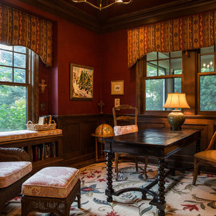 Study Room Large Victorian Freestanding Desk Dark Wood Floor And Brown Idea