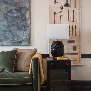 フィラデルフィアの中くらいのトランジショナルスタイルのおしゃれな書斎 (白い壁、濃色無垢フローリング、自立型机、標準型暖炉、木材の暖炉まわり、ベージュの床) の写真