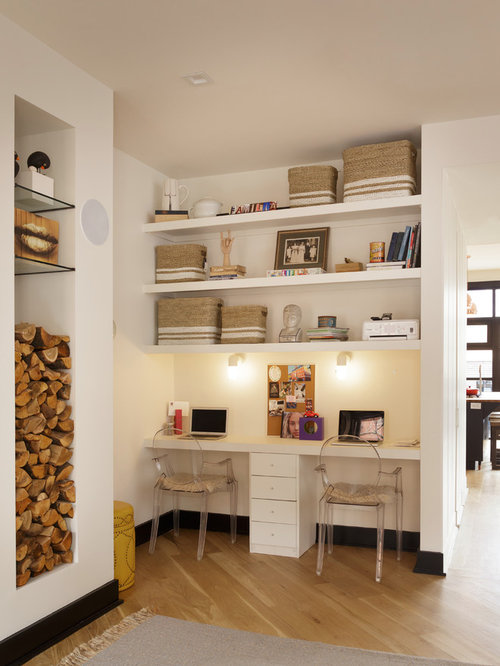 Inspiration For A Small Contemporary Built In Desk Light Wood Floor And  Beige Floor Study