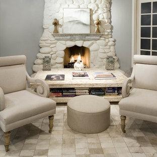 Sensational Painted River Rock Fireplace Houzz Home Interior And Landscaping Mentranervesignezvosmurscom