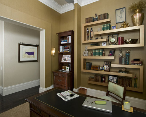Nice Mid Sized Transitional Freestanding Desk Carpeted Study Room Idea In  Sacramento With Beige Walls