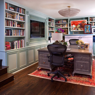 Inspiration for a mid-sized transitional freestanding desk dark wood floor study room remodel in Los Angeles with blue walls and no fireplace