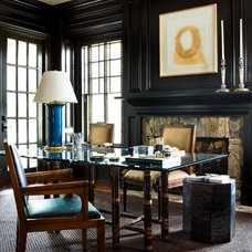 Transitional Home Office by Robert Brown Interior Design