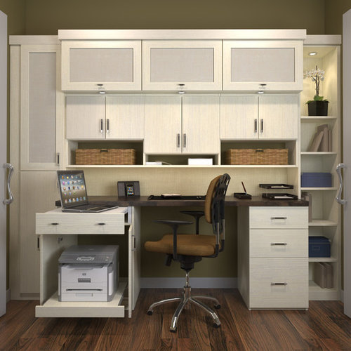 Awesome Small Traditional Built In Desk Study Room Idea In Los Angeles With White  Walls