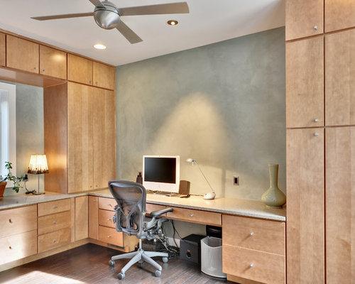 Example Of A Trendy Built In Desk Dark Wood Floor Home Office Design Other