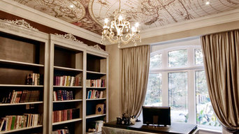 Home Office featuring stretched ceiling digitally printed with an antique map