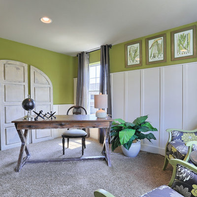 Inspiration for a mid-sized country freestanding desk carpeted study room remodel in Philadelphia with green walls