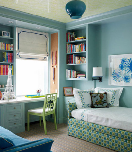 Traditional turquoise home office design ideas for Home office guest bedroom