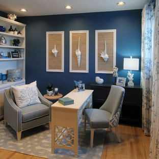 Example of a small beach style freestanding desk light wood floor study room design in Miami with blue walls and no fireplace