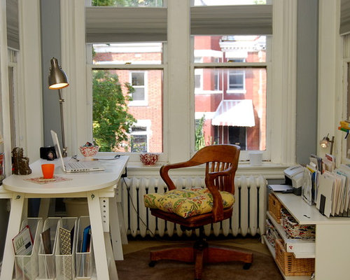 Superior Example Of An Eclectic Freestanding Desk Carpeted Home Office Design In DC  Metro With Gray Walls