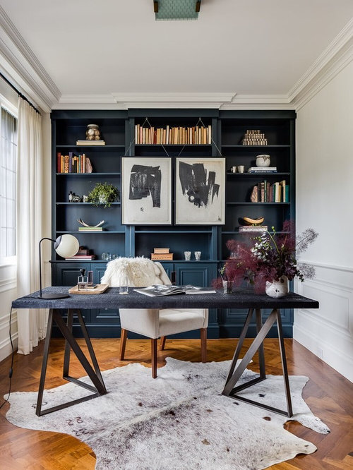 Inspiration For A Mid Sized Transitional Freestanding Desk Medium Tone Wood  Floor And Brown Floor Part 47