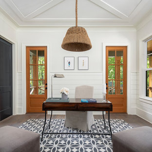 Inspiration For A Cottage Freestanding Desk Medium Tone Wood Floor And  Brown Floor Home Office Remodel