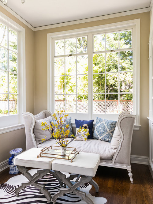 Settee In Living Room Part - 50: Example Of A Transitional Dark Wood Floor Home Office Design In San  Francisco With Beige Walls