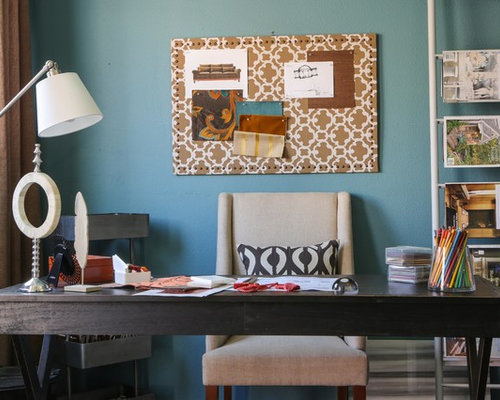 Trendy Freestanding Desk Home Office Photo In Los Angeles With Blue Walls