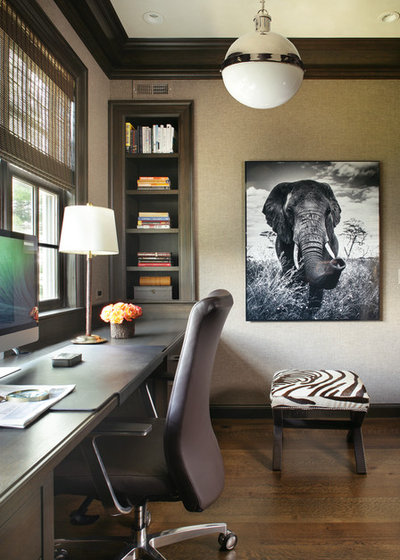 Transitional Home Office by Valerie Grant Interiors