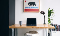 Home Office w/ Butcher Block Wood Table