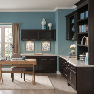 Example Of A Mid Sized Trendy Freestanding Desk Light Wood Floor Study Room Design In Save Photo Home Office With Open Faced Cabinets