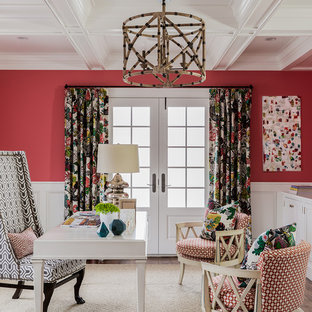 Design ideas for a beach style home office in Boston with pink walls and a freestanding desk.