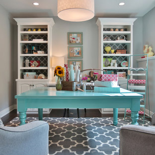 Craft room - traditional freestanding desk craft room idea in Louisville with gray walls