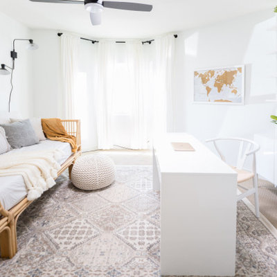 Home office - mid-sized country freestanding desk carpeted and beige floor home office idea in Phoenix with white walls