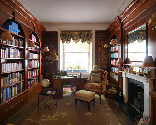 Traditional home office and library design ideas renovations photos Traditional home library design ideas