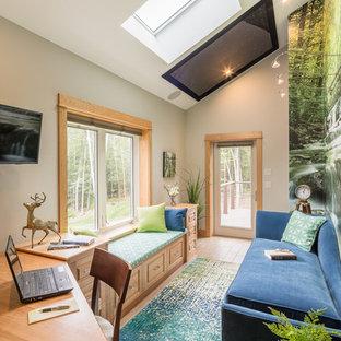 Idéer för ett klassiskt hemmabibliotek, med flerfärgade väggar, ljust trägolv och ett inbyggt skrivbord