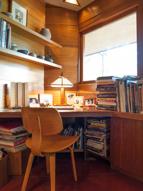 Minimalist Built In Desk Home Office Photo Cleveland