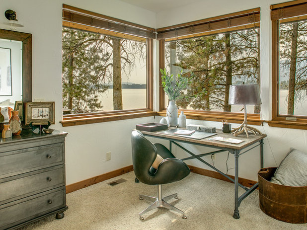 Rustic Home Office Houzz Tour: Local Idaho Flavor Balances Rustic and Luxe
