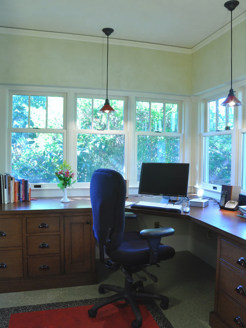 Arts and crafts home office photo in portland