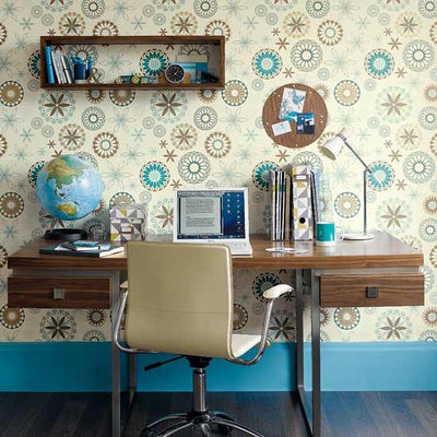 Contemporary Home Office & Library idealhomemag- contemporary home office