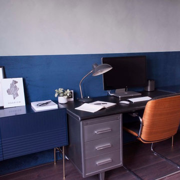 Industrial office with velour wall
