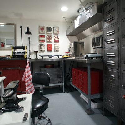 Home studio - huge industrial freestanding desk concrete floor home studio idea in Portland with white walls and no fireplace