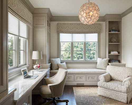 traditional built in desk dark wood floor study room idea in chicago with white walls - Traditional Home Office