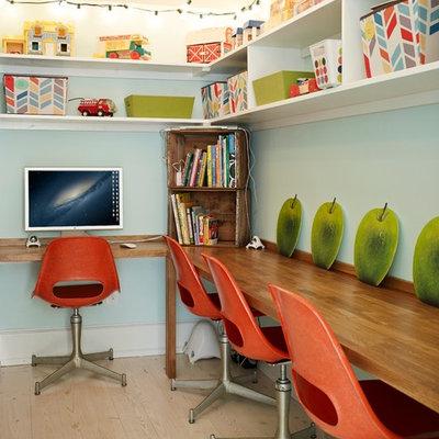 Eclectic built-in desk home office photo in Atlanta