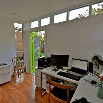 Interior Studio Shed office - great door color!