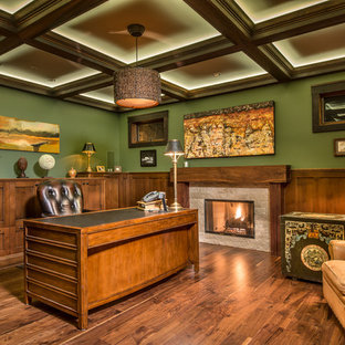 Inspiration for a contemporary home office remodel in Denver with green walls