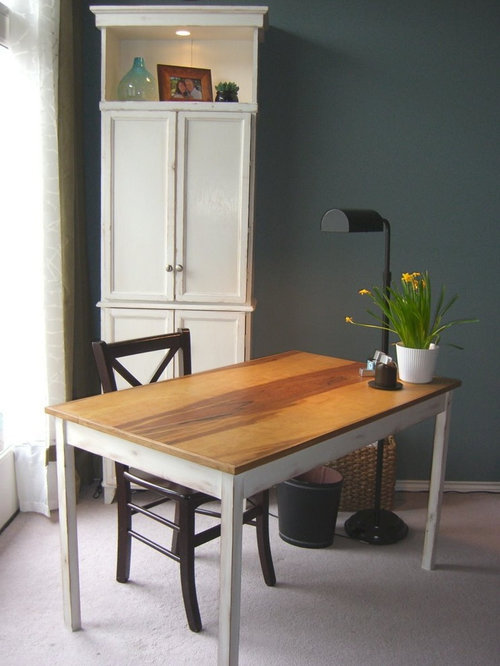Inspiration For A Timeless Home Office Remodel In Seattle With Blue Walls Carpet And