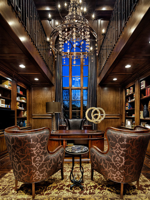 mediterranean home office and library design ideas renovations photos. Black Bedroom Furniture Sets. Home Design Ideas