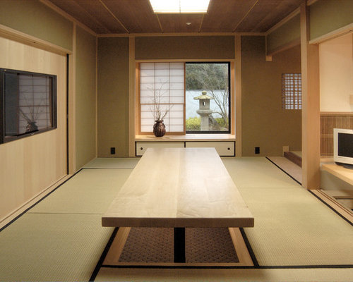 japanese home office. Inspiration For A Mid-sized Zen Built-in Desk Home Office Remodel In San Japanese Houzz