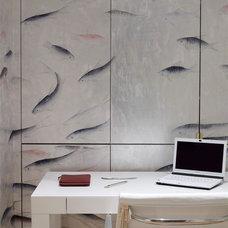 Asian Home Office by HandPainted Wallpaper - Yrmural Studio